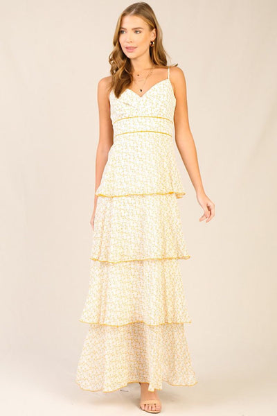 Lemon Ivory Floral Tiered Maxi Dress