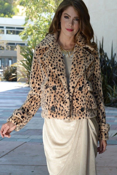 Cropped Leopard Fur Jacket