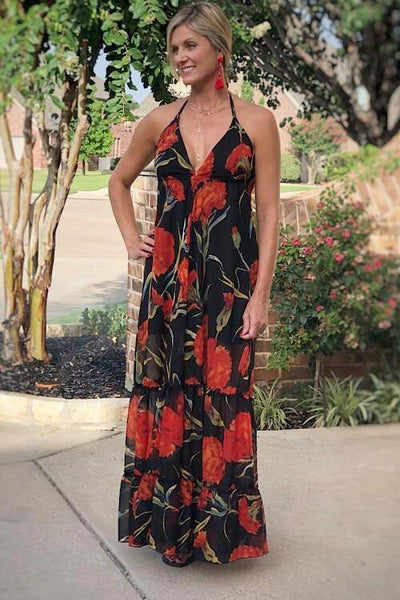 Scarlet Floral Bliss Maxi Dress