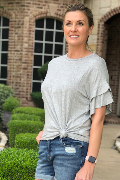 Heather Grey Ruffle Sleeve Top