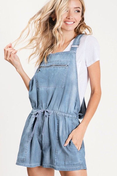 Light Wash Chambray Short Overalls