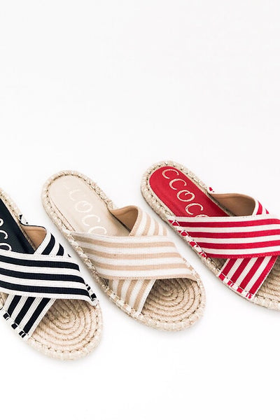 Red Stripe Espadrille Sandal