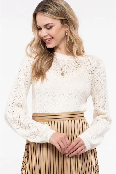 Ivory Open-Knit Sweater