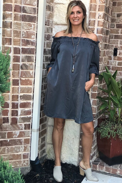 Kenzie Off The Shoulder Grey Dress