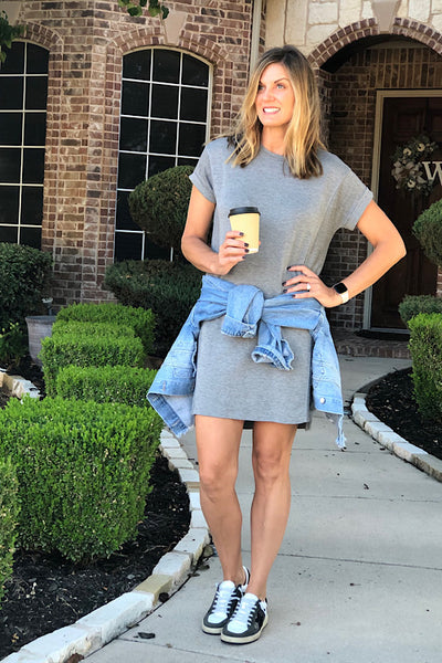 Jacklyn Heather Grey T-Shirt Dress