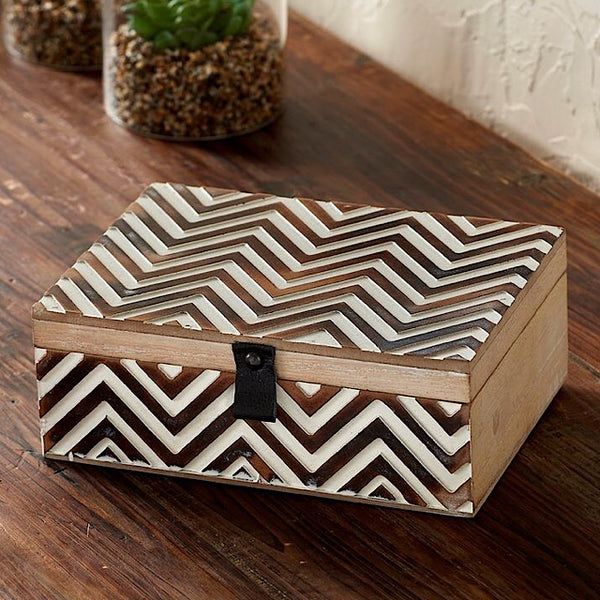 Wood Chevron Keepsake Box