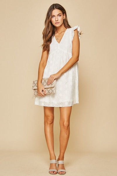 White Eyelet Babydoll Dress