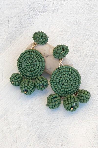 Olive Pom Earrings