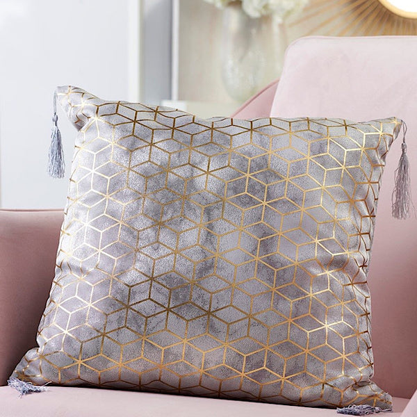 Grey and Gold Foil Print Pillow