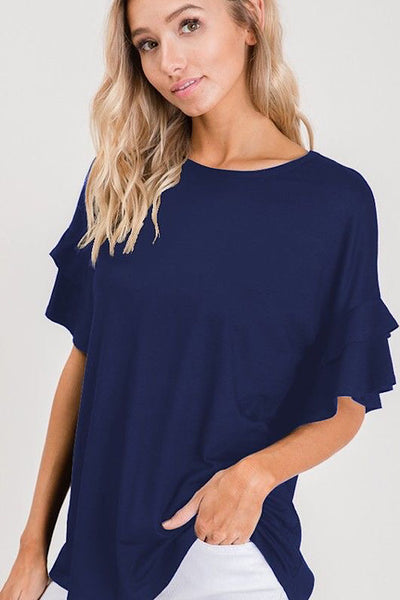 Navy Blue Ruffle Sleeve Top