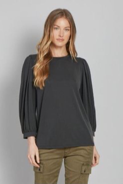 Black Helena Pleated Bishop Top