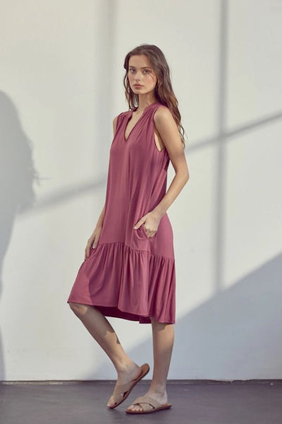Mauve Sleeveless Ruffle Dress