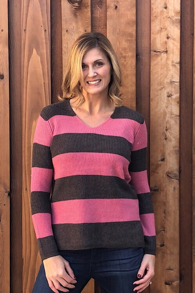 Charcoal Rose Stripe Sweater
