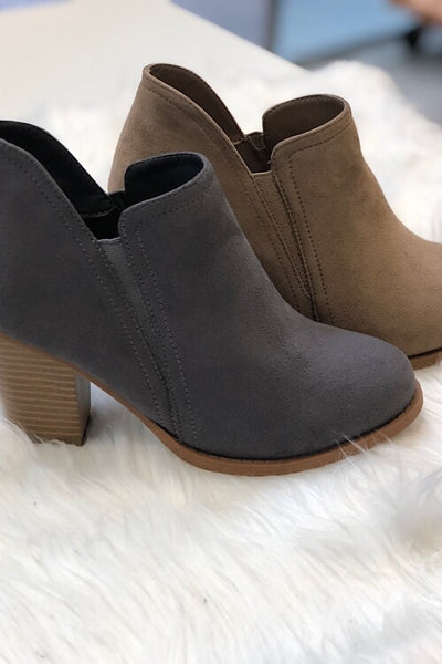 Taupe Suede Booties