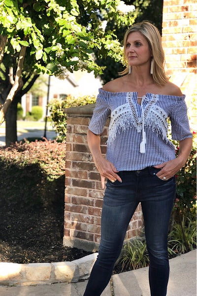 Off The Shoulder Seersucker Fringe Top