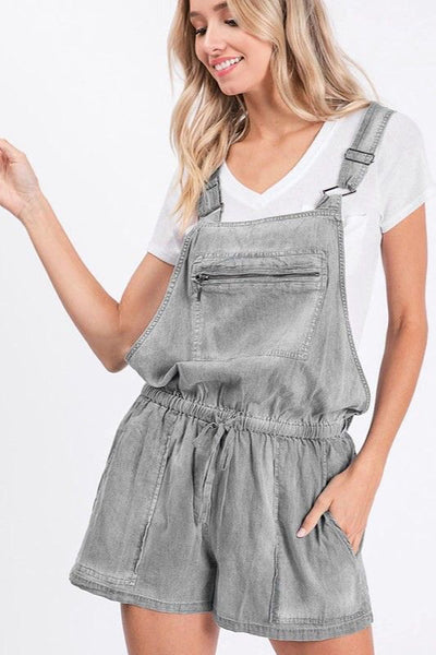 Light Grey Wash Chambray Short Overalls