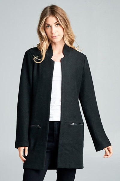 Black Collarless Jacket