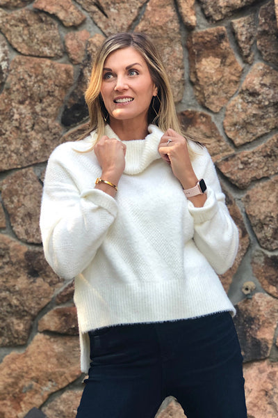White Cowl Neck Sweater