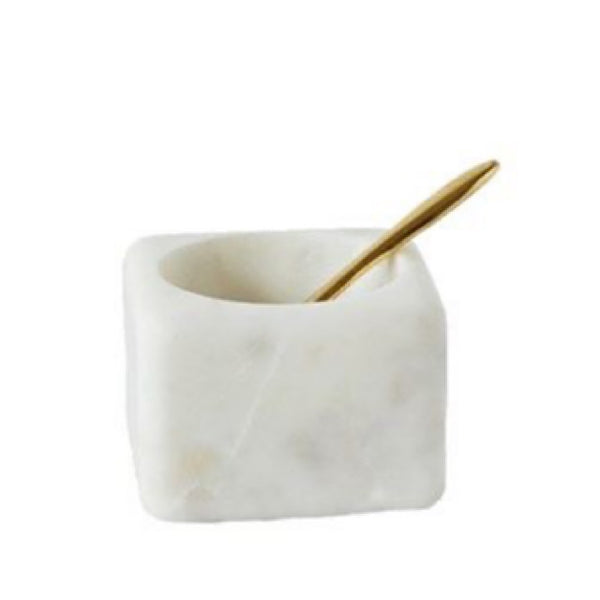 Marble Dish with Brass Spoon