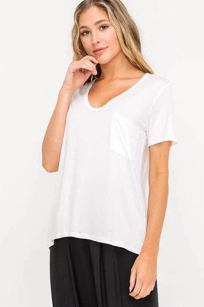 Lush White Scoop Neck Tee