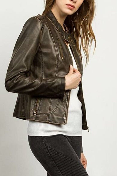 Rustic Brown Faux Leather Jacket