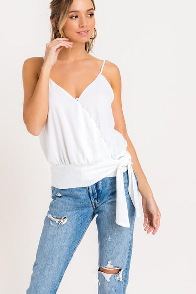 White Buttoned Tie Wrap Top