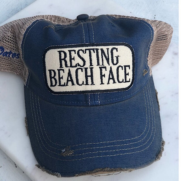 Resting Beach Face Distressed Trucker Hat