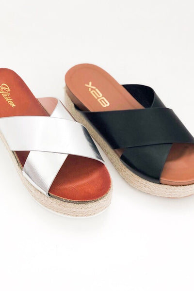 Black Cross Espadrille Sandal