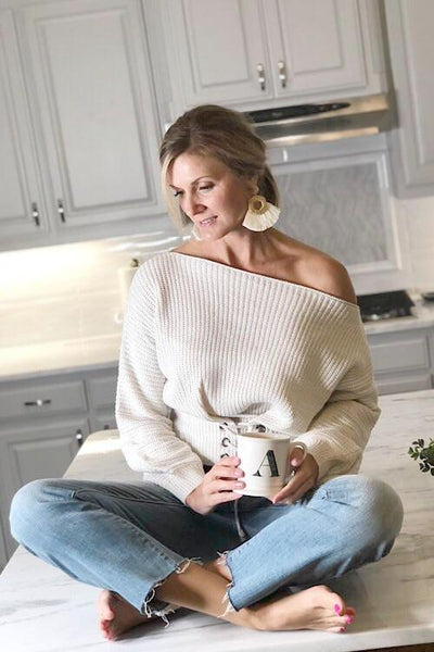 Ivory Peterson Lace Up Sweater