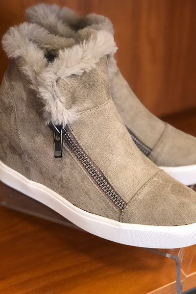Taupe Fur Booties