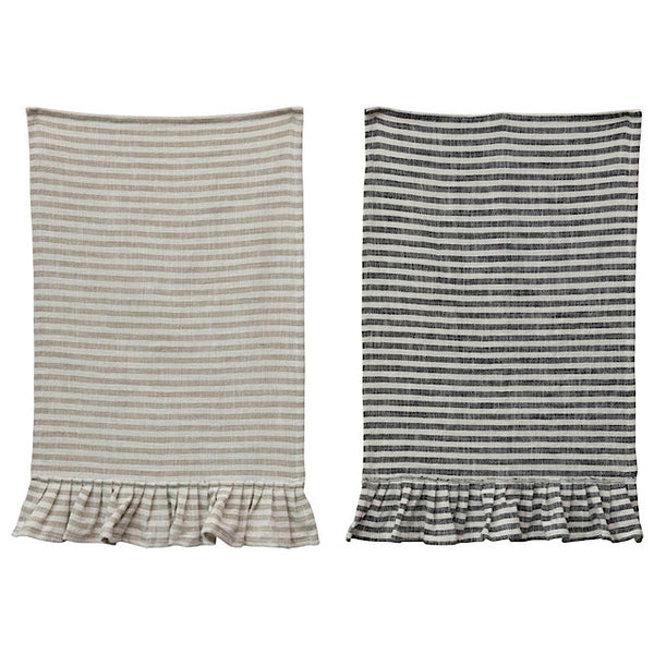 Ruffle Cotton Striped Tea Towel