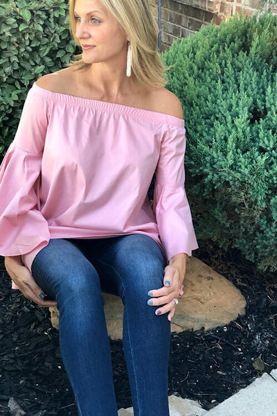 Pink Off Shoulder Hi Lo Bell Sleeve Top