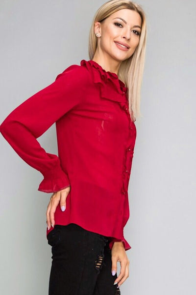 Red A Ruffle Top