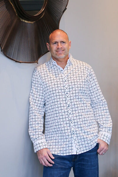 Checkered Rose Collared Shirt