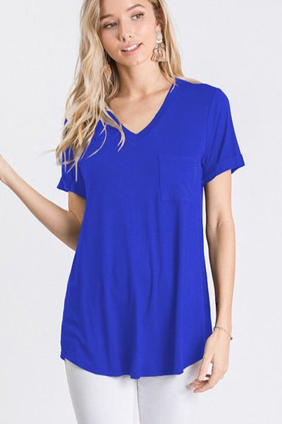 Royal Blue V-Neck Tee