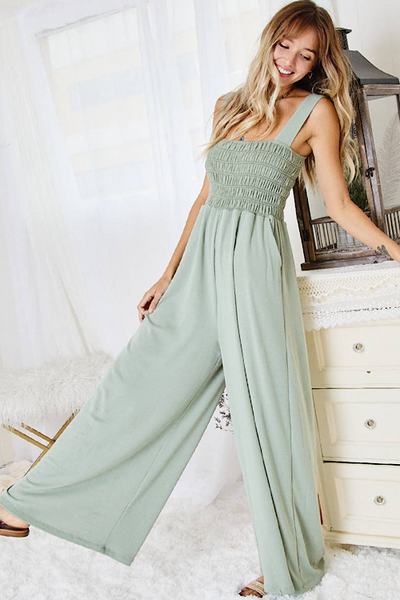 Smocked Sage Jumpsuit