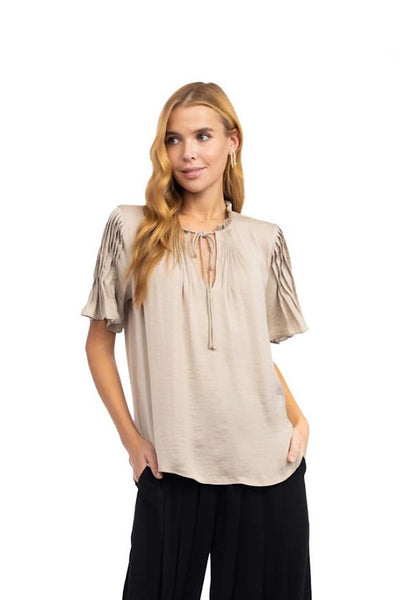 Taupe Flutter Sleeve Top