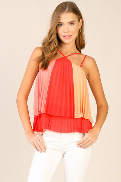 Sherbet Pleated Halter Top