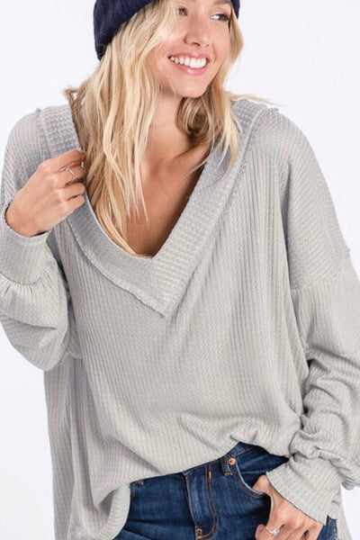 Stone VNeck Waffle Thermal