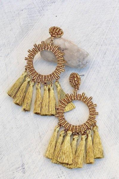 Gold Knights Tassel Earrings
