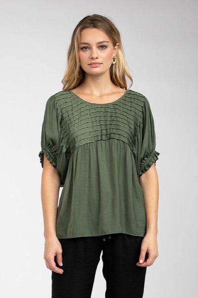 Olive Pintuck Yoke Top