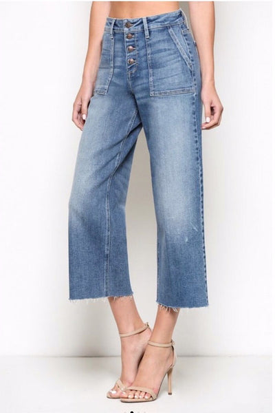 Wide Leg Cropped Jeans by Hidden Denim