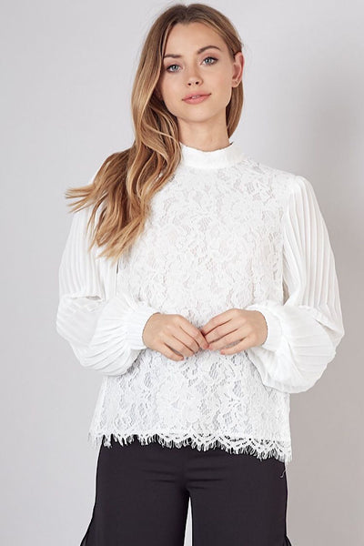 White Lace Pleated Sleeve