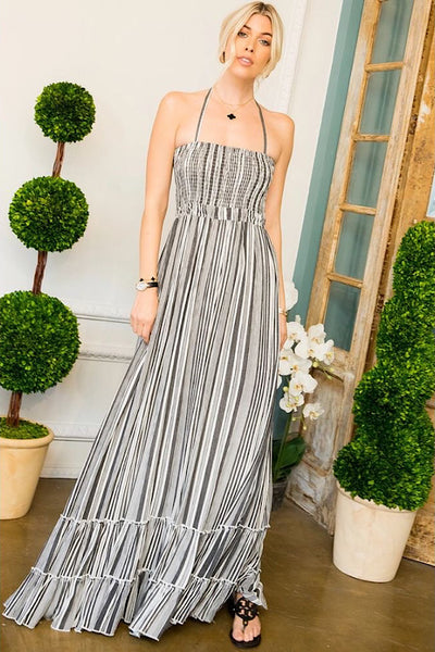Smocked Stripe Maxi