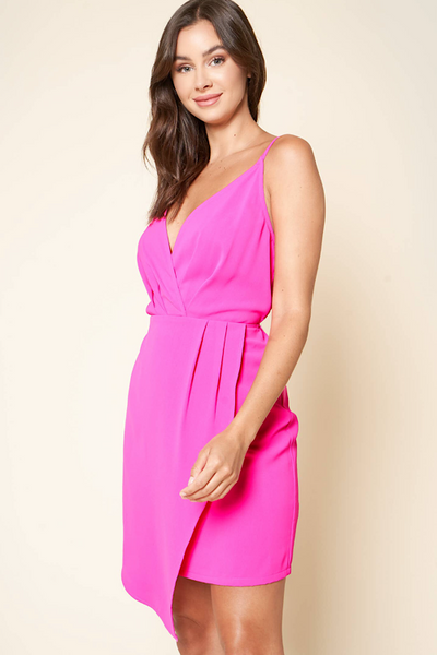 Juleen Surplice Fuschia Dress