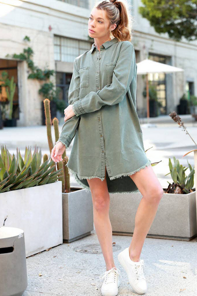 Olive Long Sleeve Tencel Dress