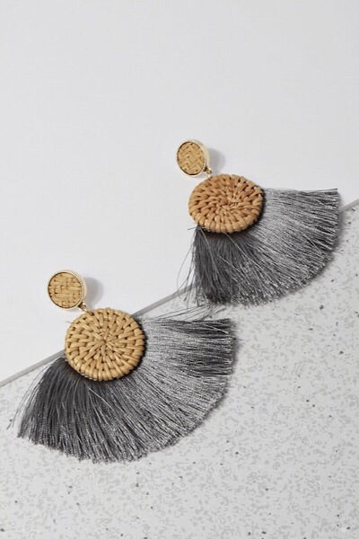Grey Sand and Sea Tassel Earrings