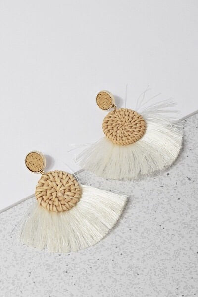 Ivory Sand and Sea Tassel Earrings