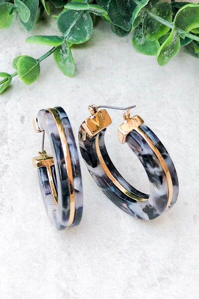 Acrylic Tortoise Shell Hoop Earrings
