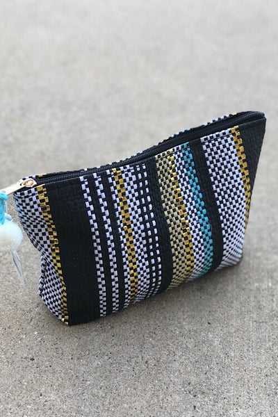 Teal Stripe Pouch